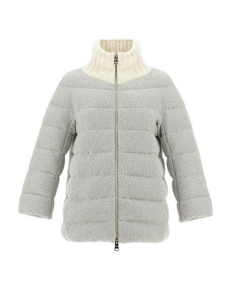 Image 1 of 3: Herno Bilbao Knit Adjustable Collar Short Coat