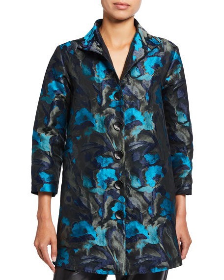 Image 2 of 3: Caroline Rose Midnight Turquoise Jacquard City Topper Jacket