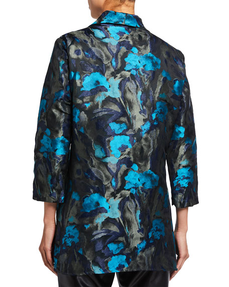 Image 3 of 3: Caroline Rose Midnight Turquoise Jacquard City Topper Jacket