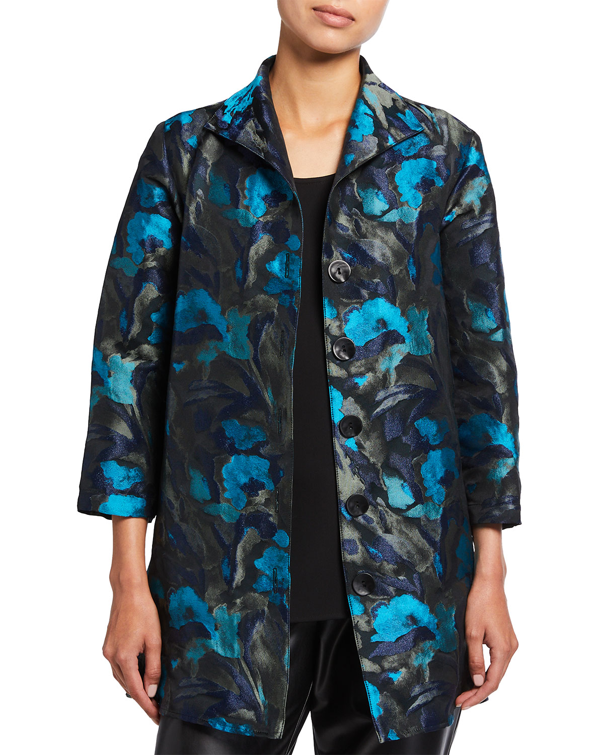 Caroline Rose Midnight Turquoise Jacquard City Topper Jacket