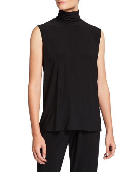 Image 1 of 2: Caroline Rose Plus Size Mock-Neck Stretch Knit Jersey Shell