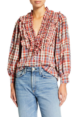 The Great The Tuxedo Plaid Button-Front Blouse