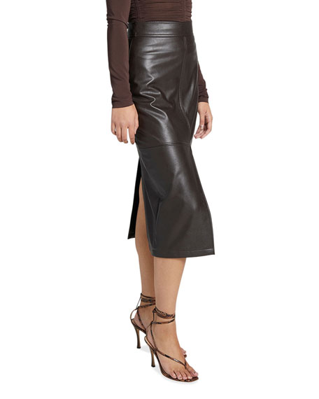 Image 2 of 3: A.L.C. Moss Slit Pleather Midi Skirt