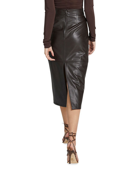 Image 3 of 3: A.L.C. Moss Slit Pleather Midi Skirt