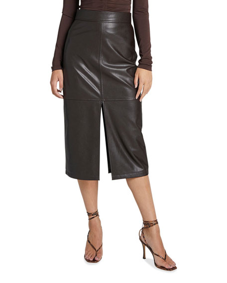Image 1 of 3: A.L.C. Moss Slit Pleather Midi Skirt