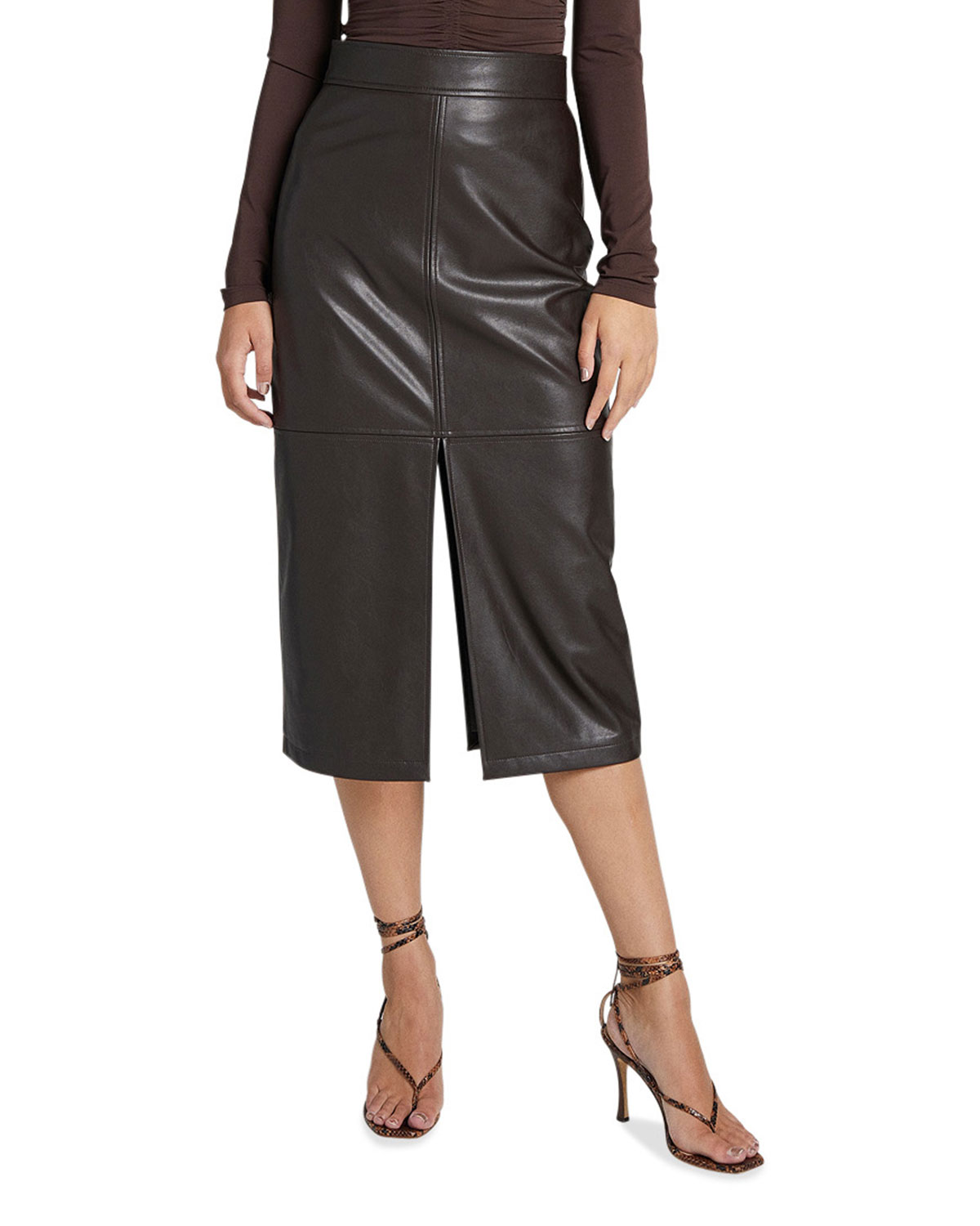 A.L.C. Moss Slit Pleather Midi Skirt
