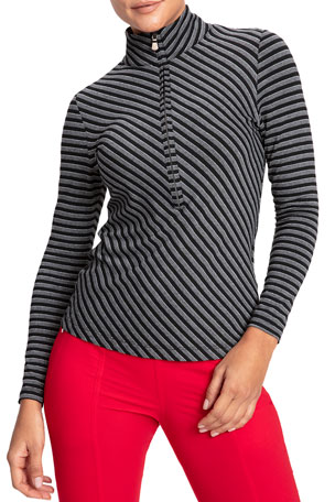 Anatomie Stacey Striped Long-Sleeve Half Zip Turtleneck Top
