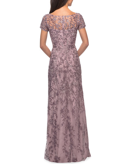Image 2 of 2: La Femme High-Neck Floral Beaded Lace Gown