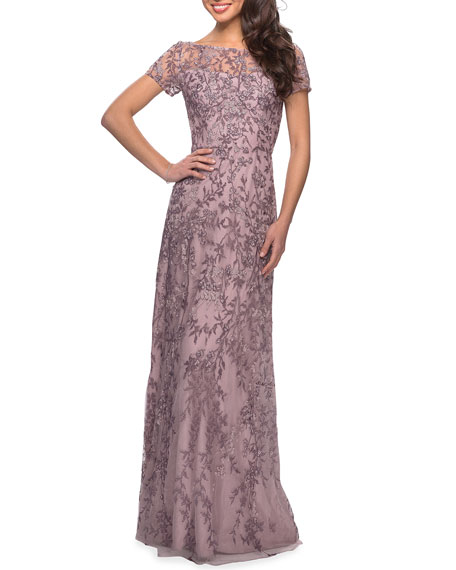 Image 1 of 2: La Femme High-Neck Floral Beaded Lace Gown