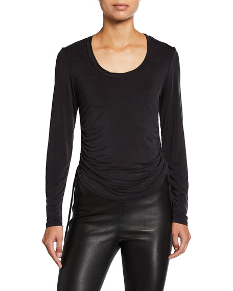 Image 1 of 2: Jonathan Simkhai Collection Ruched Long-Sleeve Top