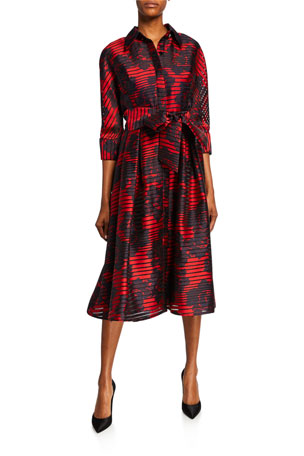 Rickie Freeman for Teri Jon Striped Burnout 3/4-Sleeve Shirtdress