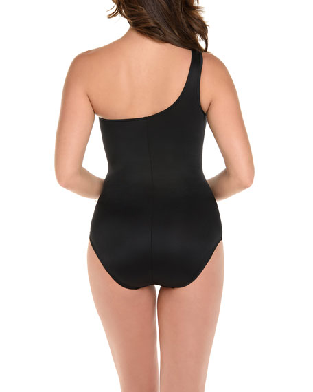 Image 2 of 2: Miraclesuit Network Jena Shirred One-Shoulder One-Piece Swimsuit