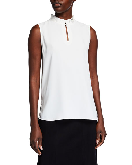 Image 1 of 2: Misook Plus Size High Ruffle Collar Sleeveless Shirt with Keyhole