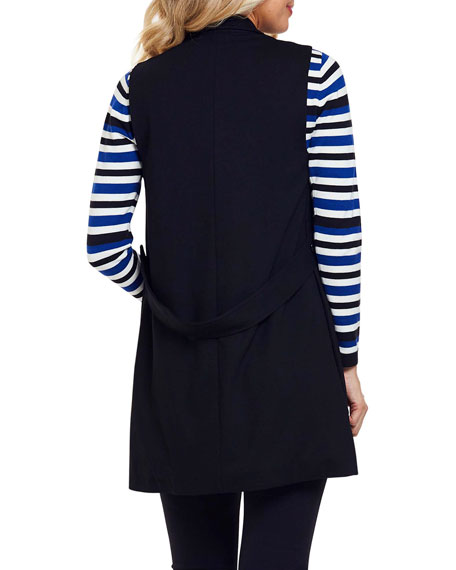 Image 3 of 4: Joan Vass Petite Long Ponte Vest with Button Closure