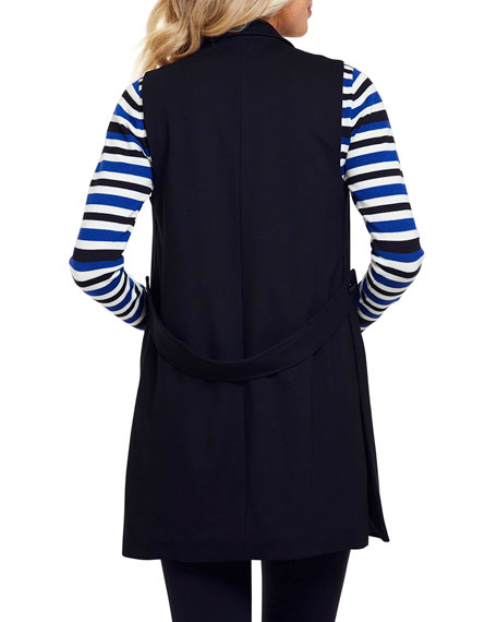 Image 4 of 4: Joan Vass Petite Long Ponte Vest with Button Closure
