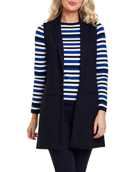 Image 1 of 4: Joan Vass Petite Long Ponte Vest with Button Closure