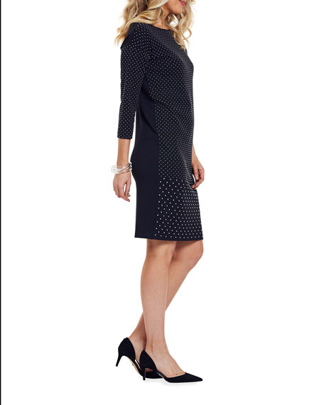 Image 2 of 4: Joan Vass Plus Size Studded 3/4-Sleeve Boat-Neck Dress