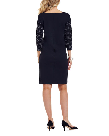Image 3 of 4: Joan Vass Plus Size Studded 3/4-Sleeve Boat-Neck Dress