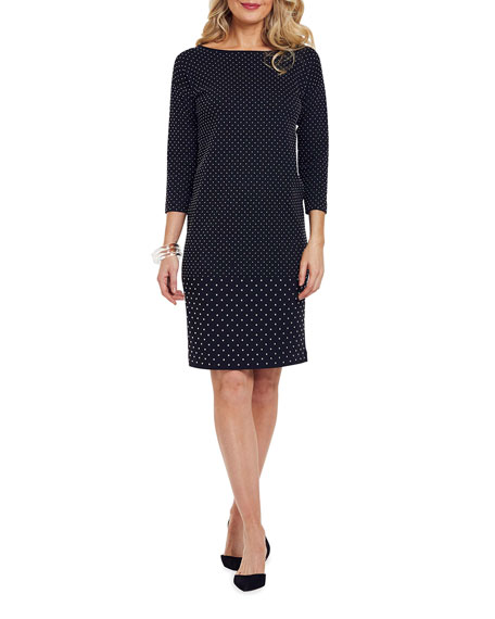 Image 4 of 4: Joan Vass Plus Size Studded 3/4-Sleeve Boat-Neck Dress