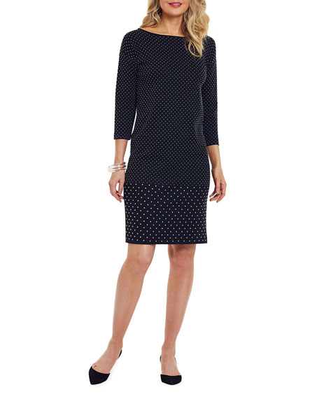 Image 1 of 4: Joan Vass Plus Size Studded 3/4-Sleeve Boat-Neck Dress