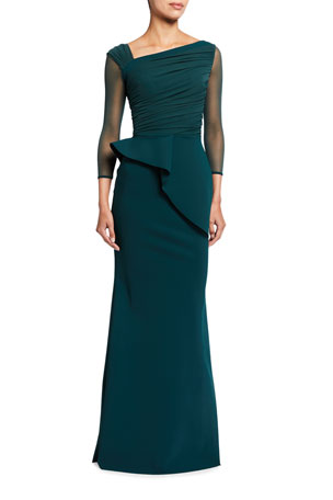 Chiara Boni La Petite Robe Rippy Asymmetrical 3/4-Sleeve Illusion Gown