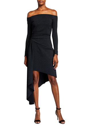 Chiara Boni La Petite Robe Berner Off-the-Shoulder Long-Sleeve Asymmetrical Dress