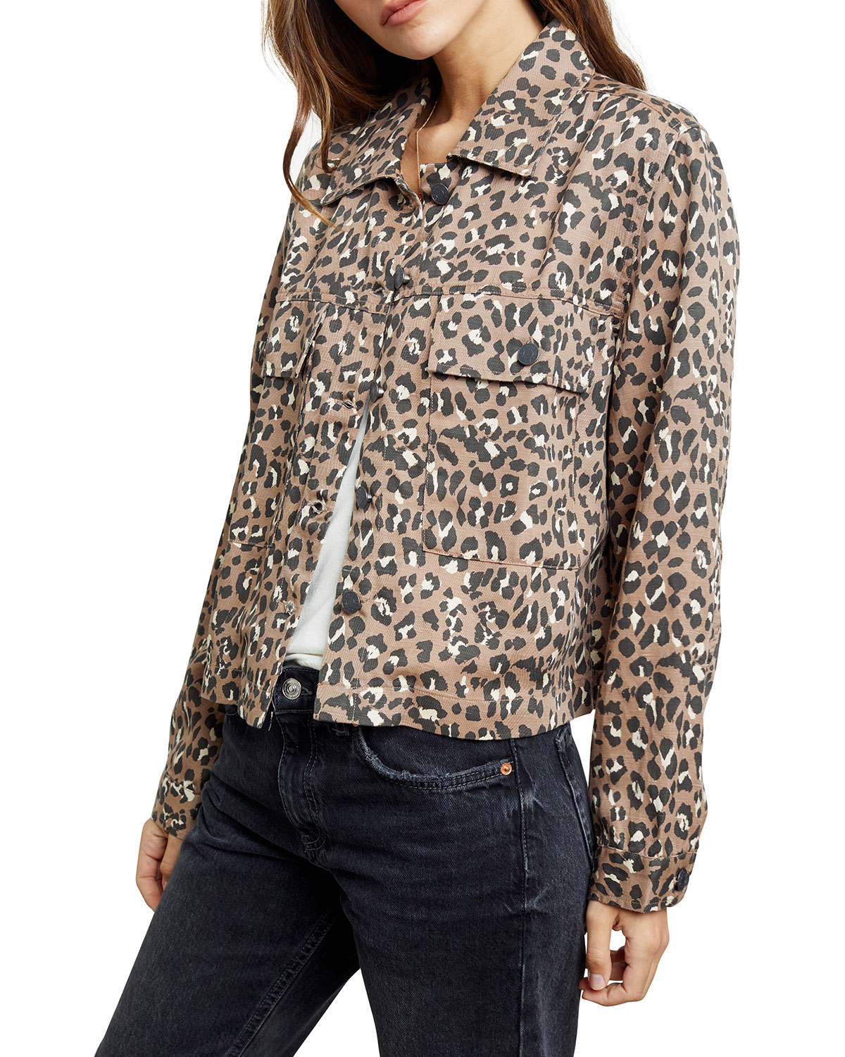 Rails Steffi Leopard-Print Jacket with Flap Pockets