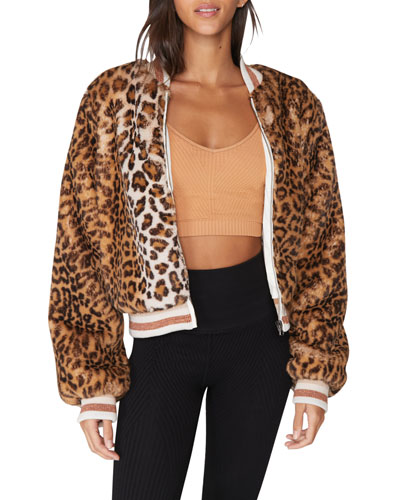 Spiritual Gangster Furry Faux Fur Bomber Jacket