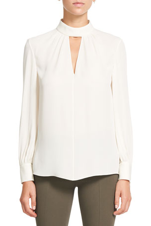 Theory Classic Mock Neck Silk Georgette Blouse