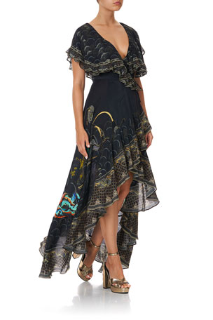 Camilla Frill-Sleeve Silk Maxi Dress