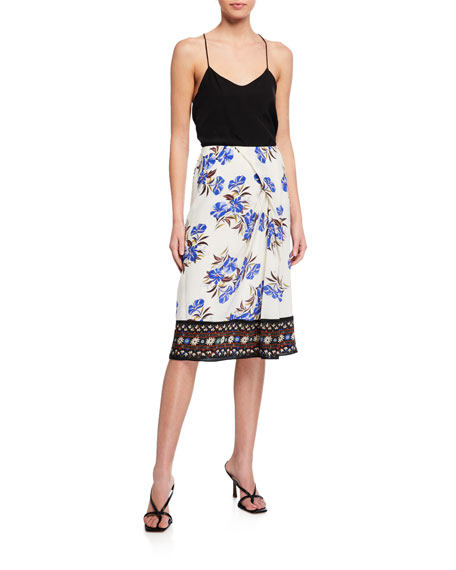 Image 3 of 3: Kobi Halperin Lyle Floral Silk Skirt