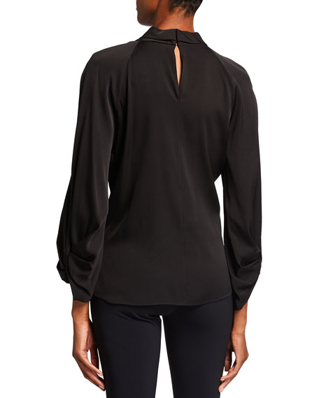 Image 3 of 3: Kobi Halperin Joey Stretch Silk Keyhole Blouse