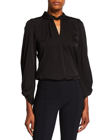 Image 1 of 3: Kobi Halperin Joey Stretch Silk Keyhole Blouse