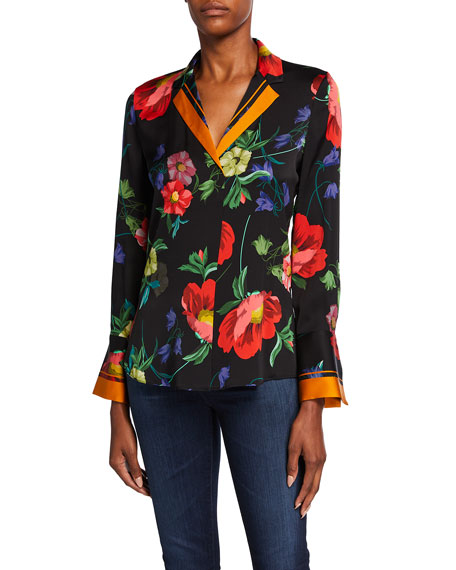 Image 2 of 3: Kobi Halperin Joyce Floral Print Stretch Silk Blouse