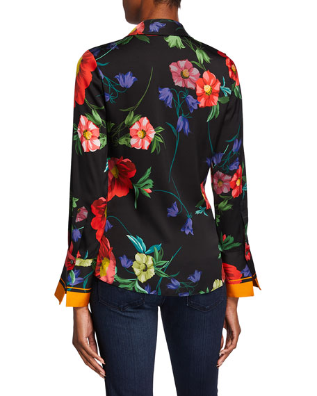 Image 3 of 3: Kobi Halperin Joyce Floral Print Stretch Silk Blouse