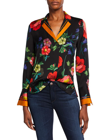 Image 1 of 3: Kobi Halperin Joyce Floral Print Stretch Silk Blouse