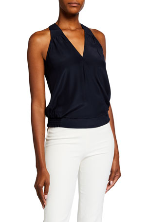 Parker Tasha Sleeveless V-Neck Silk Top