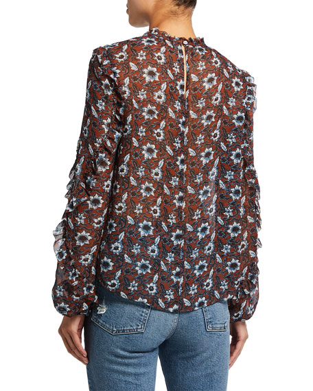 Image 2 of 2: Veronica Beard Carolina Silk Floral Long-Sleeve Top
