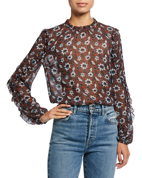 Image 1 of 2: Veronica Beard Carolina Silk Floral Long-Sleeve Top