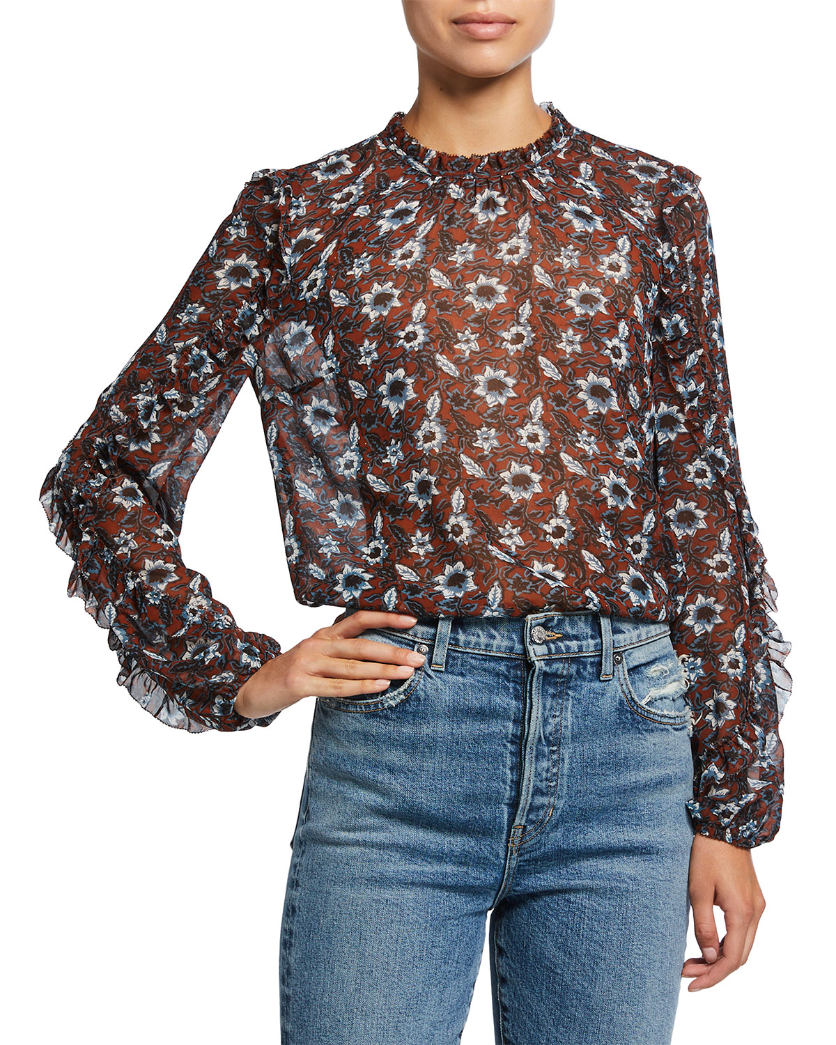 Veronica Beard Carolina Silk Floral Long-Sleeve Top