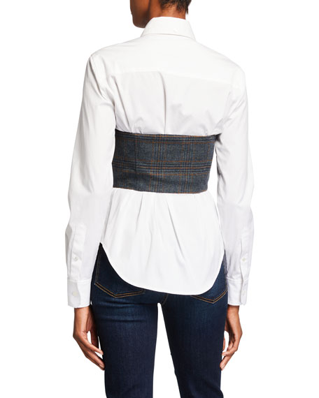 Image 2 of 2: Veronica Beard Miki Bustier Button-Down Blouse