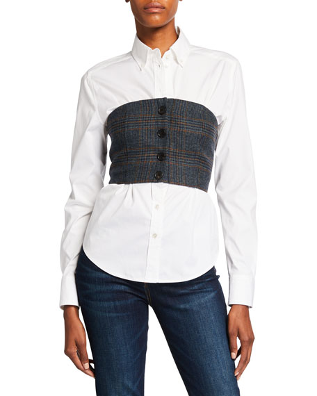 Image 1 of 2: Veronica Beard Miki Bustier Button-Down Blouse