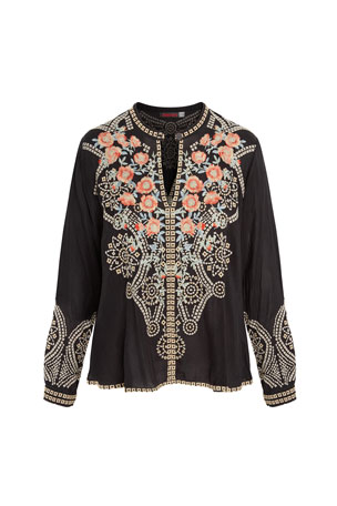 Johnny Was Plus Size Alani Floral Embroidered Keyhole Blouse