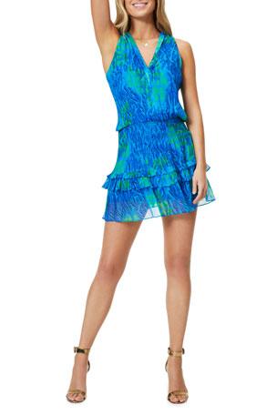Ramy Brook Kimmy Printed Ruffle Mini Dress