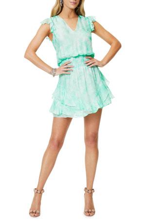 Ramy Brook Simone Tie-Dye Printed Silk Dress