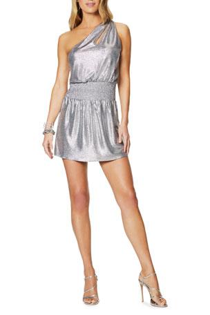 Ramy Brook Nadya Convertible One-Shoulder Foiled Jersey Mini Dress
