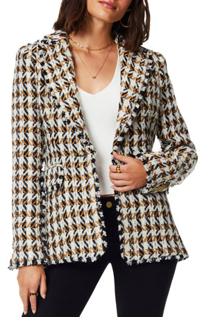 Ramy Brook Mallary Wool-Blend Houndstooth Blazer