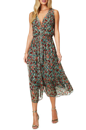 Ramy Brook Leah Floral-Print Midi Dress