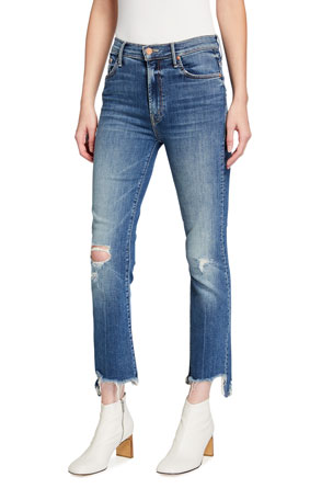 MOTHER The Insider Crop Step Chewed-Hem Jeans
