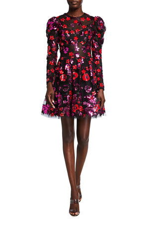 Dress The Population Yasmine Sequin Floral Embroidered Long Sleeve Dress $428.00